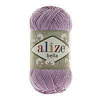 Турецкая пряжа 100% хлопок Белла, alize bella лилового цвета 505