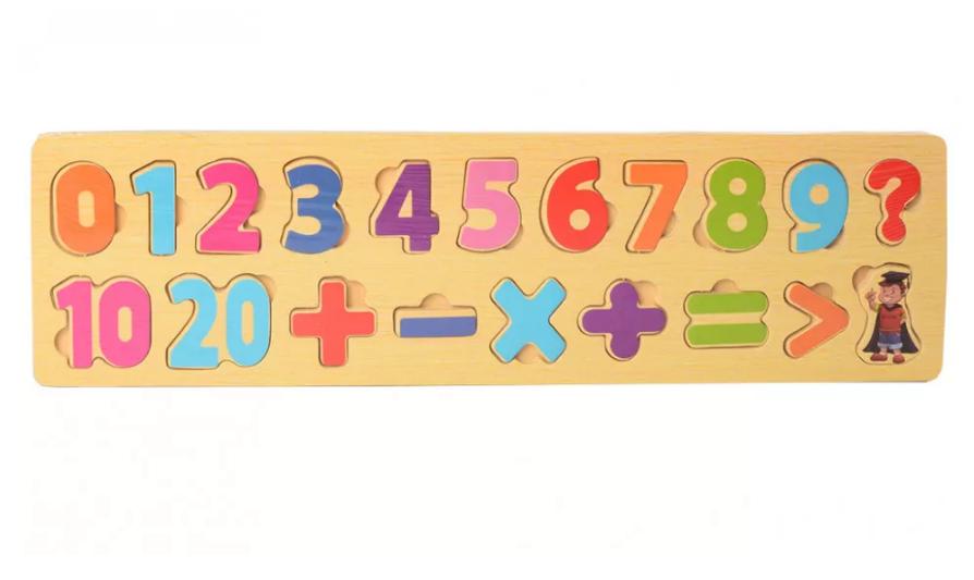 Деревянная игрушка Рамка-вкладыш MD 2216 (Цифры-Мат. знаки), Оригинал