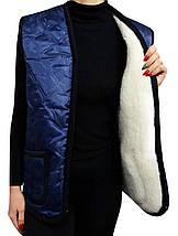 Жилетка плащевка на овчине Синяя Размер XL, фото 3