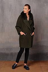 Зимове пальто з валяного вовни з хутряним коміром Elvi 456