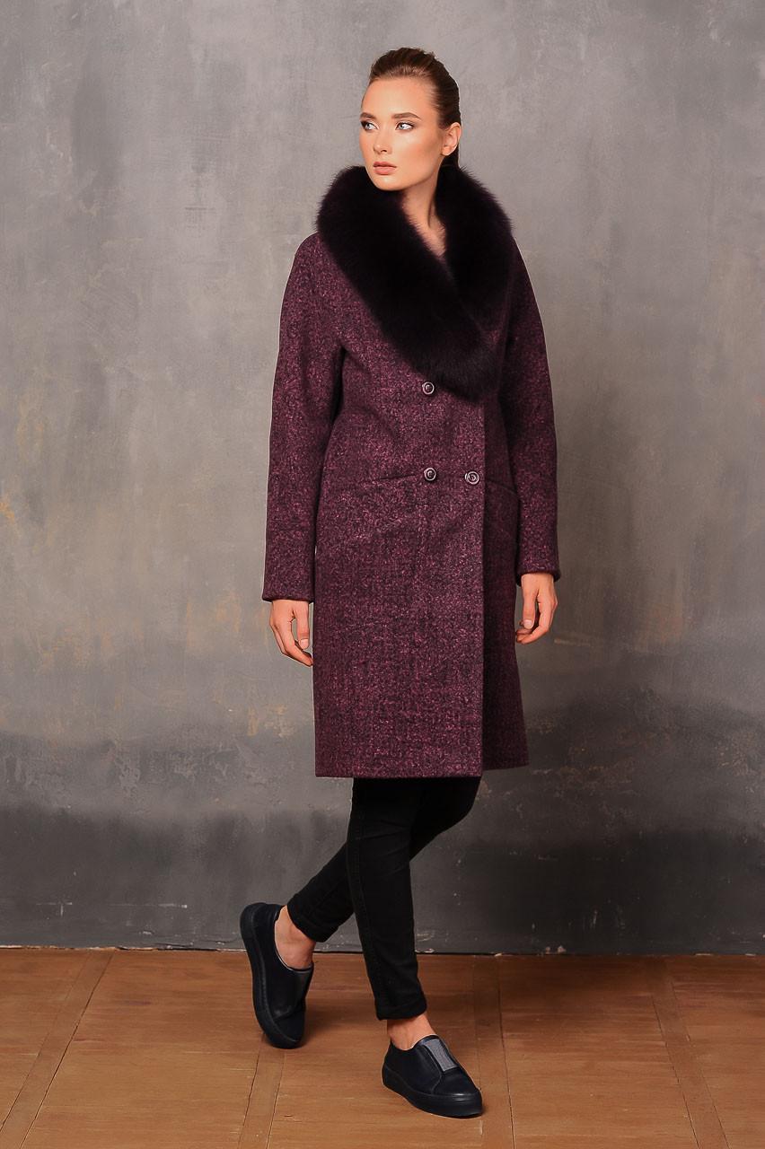 Зимове жіноче пальто з вовни з шалевим коміром Elvi 457