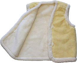 Меховая двойная жилетка из овчины лимонная Размер 48-50, фото 3