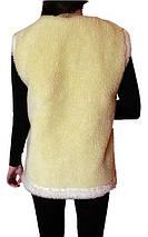Меховая двойная жилетка из овчины лимонная Размер 56, фото 2