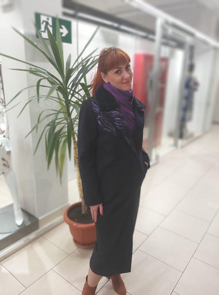Зимовий кашемірове пальто з вишивкою та норкою Raslov 956 46