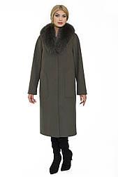Зимове жіноче пальто з коміром з песця Ricco Аміна