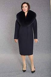 Зимнее женское пальто из ворсовой ткани с песцом Ricco Столица