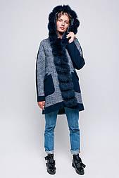 Зимовий молодіжне пальто парку з капюшоном і хутром песця Vam 579
