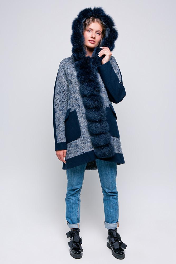 Зимнее молодежное пальто парка с капюшоном и мехом песца Vam 579