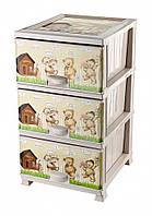 Комод пластиковый 3 ящика, Мишки (Медвежата), Elif, бежевый, пищевой пластик