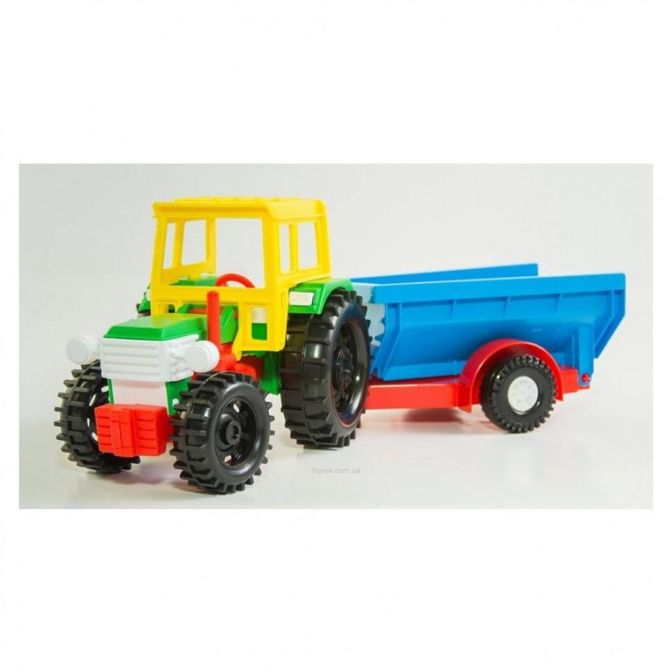 Трактор с прицепом в коробке 39009 -1/2 (С кузовом), Оригинал