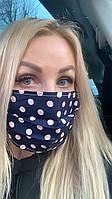 Многоразовая женская тканевая маска для лица двухслойная, защитная