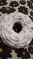 Подушка ручной работы детская Пончик 39 см с плюшевых ниток,против аллергенная,