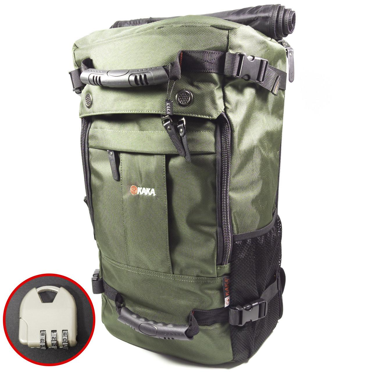 Рюкзак-сумка дорожня для подорожей KAKA 2050 D Green з кодовим замком дихаючої спинкою багато відділень