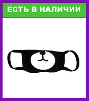 Маска для лица детская Мишка многоразовая  натуральная 2-х слойная