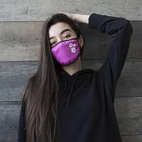Модная женская защитная тканевая маска для лица розового цвета
