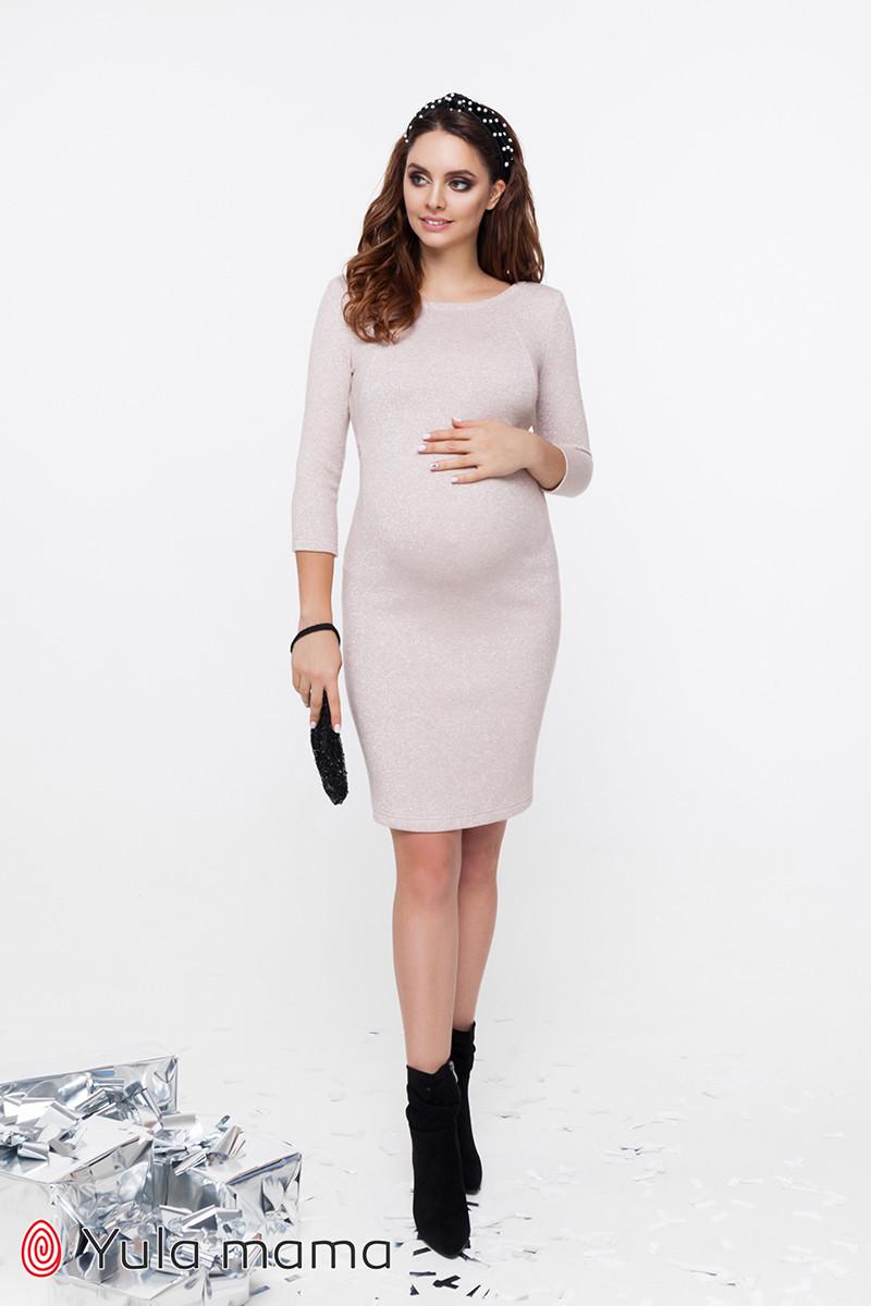 Нарядне плаття для вагітних та годуючих з теплого трикотажу з люрексом ELYN DR-49.232