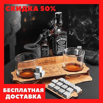 Комплект 12 камней для виски и напитков, 2 стакана Bohemia и подставка, фото 2