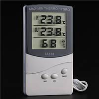Гигрометр для измерения влажности помещения TA 318 с выносным датчиком, часы метиостанция с выносным датчиком