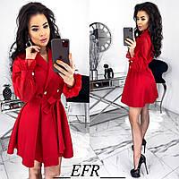 Элегантное платье на запах с шифоновыми рукавами красное 42-44 46-48