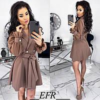 Элегантное платье на запах с шифоновыми рукавами кофейное 42-44 46-48