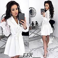 Элегантное платье на запах с шифоновыми рукавами белое 42-44 46-48