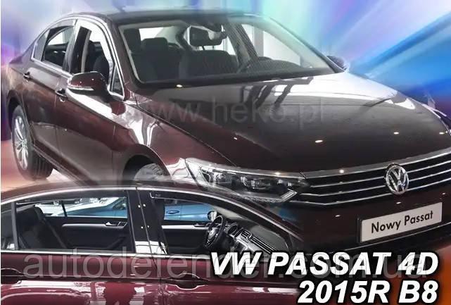 Дефлекторы окон (вставные!) ветровики Volkswagen VW Passat B8 2014-2020 4D sedan Europe 4шт., HEKO, 31002
