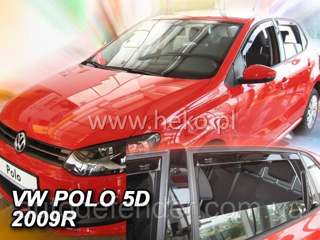 Дефлекторы окон (вставные!) ветровики Volkswagen VW Polo 5 2009-2017 5D hatchback 4шт., HEKO, 31178