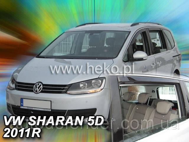 Дефлекторы окон (вставные!) ветровики Volkswagen VW Sharan 2 2010-2020 4шт., HEKO, 31182