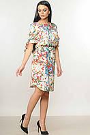 Женское платье-миди «Пейп» (Кремовое, розовое | 42, 44) Кремовый, 44
