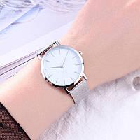 Женские часы Classic steel watch серебристые, жіночий годинник, кварцевые часы на кольчужном ремешке