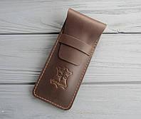 Пенал для ручек VALERI из натуральной кожи_темный шоколад