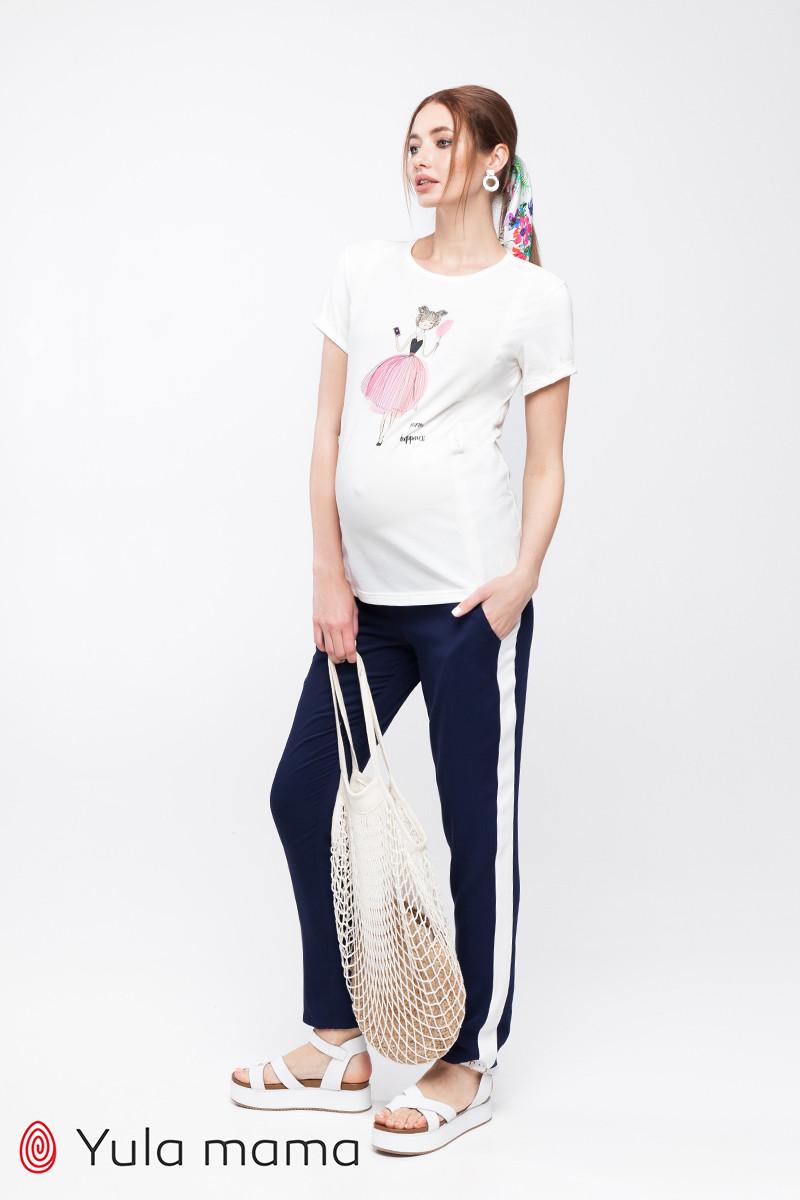 Свободные брюки с лампасами для беременных из легкой ткани LILOU TR-20.041