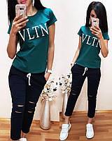 Костюм спортивный турецкая двухнитка с футболкой VLTN, бутылка+темно-синий, фото 1