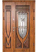 Двери входные двуполые с ковкой и стеклом, Магда 228-№4-120. Входные двери для частного дома 120 см