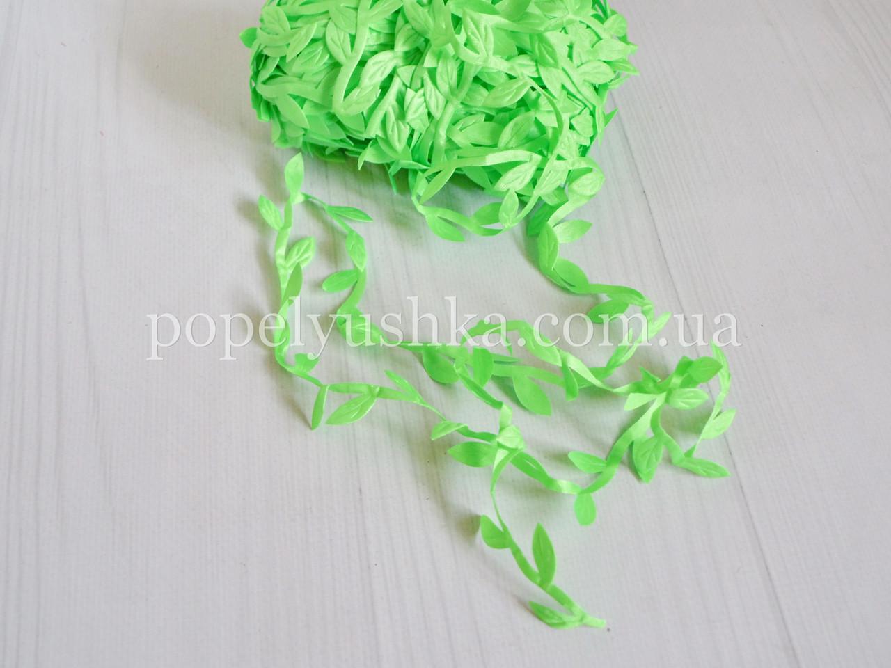 Декоративна стрічка з  листочками салатова