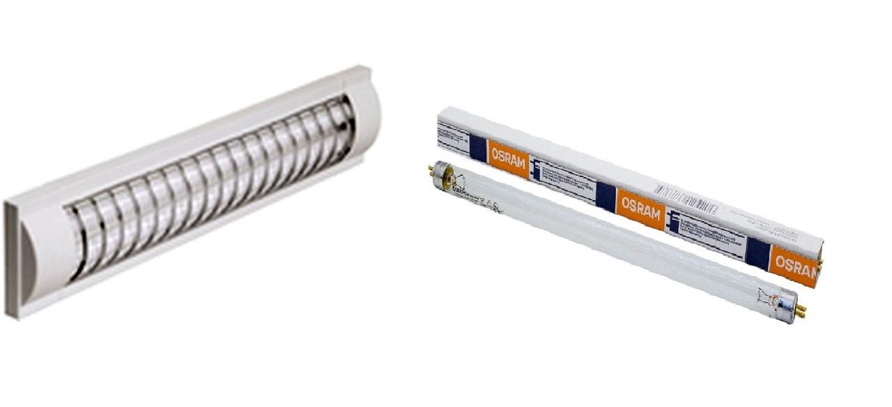 Комплект Лампа Бактерицидная 15W Delux + светильник