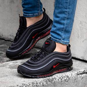Мужские Кроссовки Nike Air Max 97 черные с красным обувь мужская демисезонная обувь