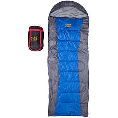 Спальник 450гр/м2 GreenCamp одеяло180+30/75; 1,8кг серо-синий