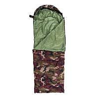 Спальник 250гр/м2, камуфляж коричневый, одеяло, (180+30)*75см