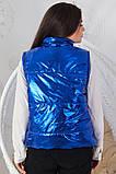 Женская жилетка без капюшона с карманами плащевка синтепоне 150 размер:48-56, фото 6