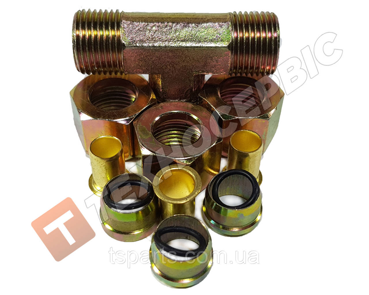 Соединитель тройник тормозной трубки разборной (фурнитура) (фитинг) Ø8мм (13 наименований)