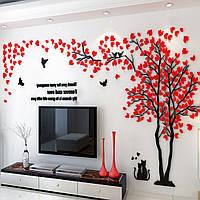 3D интерьерная наклейка Красное дерево 1,5х3 м Красный hubvAnQ27909, КОД: 1379777