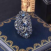 Женское кольцо с синими цирконами код 1866