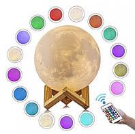 3D Светильник Луна Сенсорная лампа LED ночник 16 цветов USB заряд