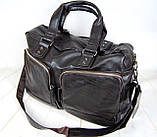 Мужская дорожная сумка. Сумка для поездок. Коричневая КСД7, фото 7