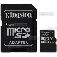 Карта памяти Kingston microSDHC 16GB Canvas Select Class 10 UHS-I U1 + SD-адаптер (SDCS/16GB)