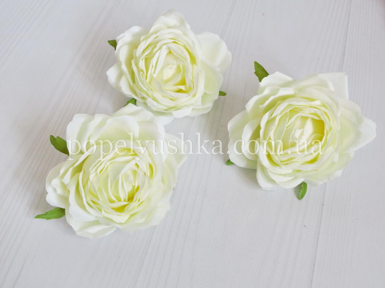 """Головка троянди """"Преміум"""" 9 см молочна"""
