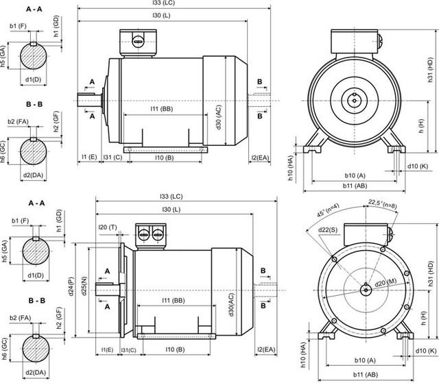 Габаритные и установочные размеры модели АИР 80 A4