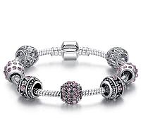 Женский браслет Fench Silver Plated pink crystal 3 Cеребристый AJPS3005d19, КОД: 1462490