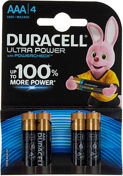 Батарейки Duracell індикатор заряду Ultra Power LR-03/блістер 4шт (10)